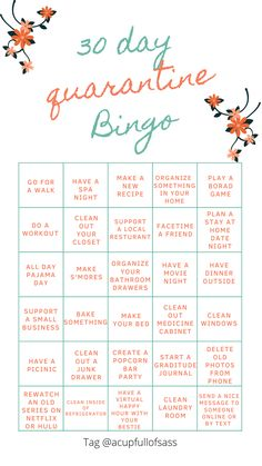 30 Day Quarantine Bingo Challenge - A Cup Full of Sass
