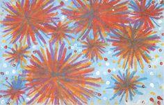 vuurwerk van bordkrijt of pastelkrijt