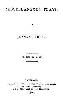 Joanna Baillie Wikipedia Moral Philosophy Joanna Romanticism