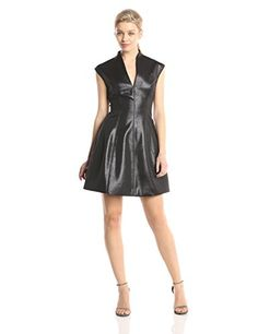 HALSTON HERITAGE Womens Cap Sleeve Metallic Fit and Flare Cocktail Dress Black 10 ** Visit the image link more details.