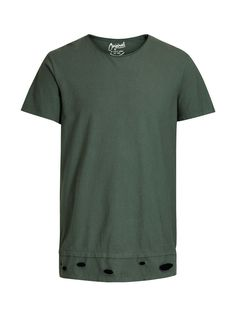 Longer length t-shirt in thyme green, made from comfortable cotton, with rough edges and rips for a cool look | JACK & JONES #originals #tee #holes #rips #edgy