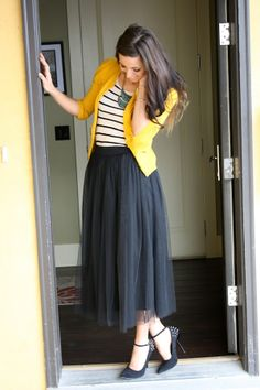 Canary cardi  black tulle skirt