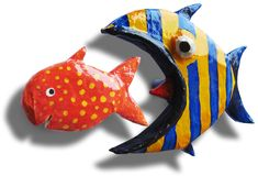 Papier Mach� chasing fish cupboard handles