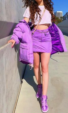 Street style mixed with crazy color vibes is everything Purple Outfits, Crazy Outfits, Colourful Outfits, Mode Outfits, Trendy Outfits, Fashion Outfits, Womens Fashion, Neon Outfits, Fashion Hair