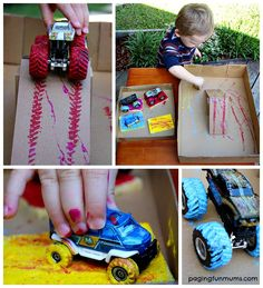 Truck Painting Track - A FUN and EASY way for toddlers to create art.
