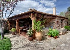 """myinnerlandscape: """" vicky's old restored farmhouse """" Spanish Style Homes, Spanish House, Outdoor Rooms, Outdoor Living, Stone Cabin, Restored Farmhouse, Hacienda Style, Patio Roof, Stone Houses"""