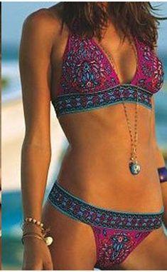 Boho Gypsy Bikini Hot Pink Multi Colored India Print Two Piece Swimsuit Hippy…