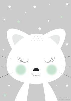 Plakat z kotem do druku. Free poster to print :) Baby Room Art, Baby Art, Cute Drawings, Animal Drawings, Cute Background Pictures, Tier Doodles, Baby Wall Decor, Baby Posters, Animal Doodles