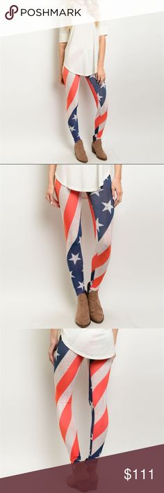 COMING SOONStars & Stripes leggings Show your patriotic spirit with these flag leggings of the red, white, and blue. 4th of July is just around the corner! 95% polyester/5% spandex. Sizes available: S, M, L. Not interested in trades. Will list at $14. Pants Leggings