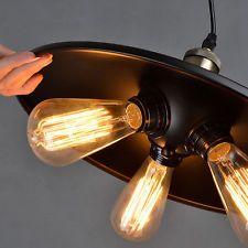 Rustic Loft Fixtures Iron Pendant Light Metal Shade Ceiling Lamp Chandelier DIY