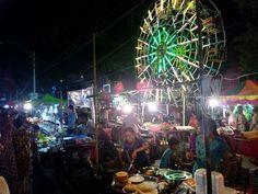 Street food on Yegyaw road Yangon,during Thedinkyut festival 2015.