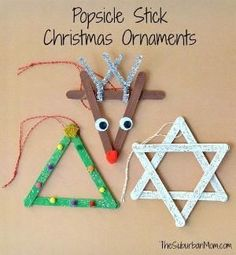 3 Popsicle Stick Christmas Ornaments Kids Craft is part of Holiday Kids Crafts Ornaments - Everyone loves Popsicle stick crafts & these 3 Popsicle Stick Christmas Ornaments are as cute as they are easy Cute kids craft to make as Christmas gifts Kids Christmas Ornaments, Preschool Christmas, Christmas Crafts For Kids, Christmas Activities, Christmas Art, Christmas Projects, Christmas Tree Decorations, Holiday Crafts, Popsicle Stick Crafts