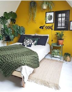 LIV for Interiros / 22 Homes that prove Gen Z Yellow is the New Millenial Pink t. LIV for Interiros / 22 Homes that prove Gen Z Yellow is the New Millenial Pink thank you for visit thie boards My New Room, Home Decor Bedroom, Green Bedroom Decor, Bedroom Furniture, Yellow Bedroom Decorations, Bedroom Ideas Grey, Small Bedroom Inspiration, Tropical Bedroom Decor, Green Decoration