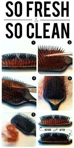 Clear hair out of hairbrush