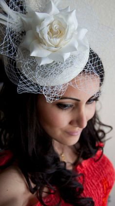 Queen Ivory Rose Couture English Hat Sinamay by EyeHeartMe on Etsy, $78.00