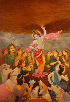 Krsna Lila Govardhana Lila - Art by Haridas Thakur Prabhu