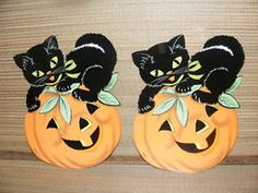 vtg halloween wall decoration melted plastic popcorn black cat very rare owl ebay halloween pinterest cats black cats and decoration - Vintage Halloween Decorations Ebay