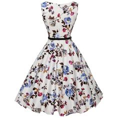 Flower Print Flare Dress With Belt ❤ liked on Polyvore featuring dresses, white flare dress, white floral dress, white dress, flower print dress and white day dress