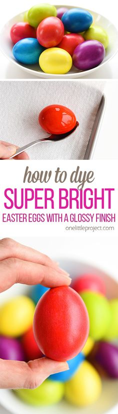 These crazy vibrant, super bright Easter eggs are SO BEAUTIFUL and they're so easy to make!! I love the shiny and glossy finish!! The color is completely consistent without any of the speckles and splotches you get from the store bought kits. Best of all, they're completely safe to eat!