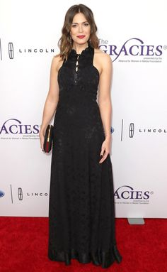 Mandy Moore in a black Mayle dress