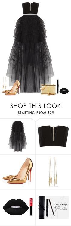 """Untitled #433"" by alexa-sz ❤ liked on Polyvore featuring BCBGMAXAZRIA, Balmain, Christian Louboutin, Noir Jewelry, Lime Crime and Yves Saint Laurent"