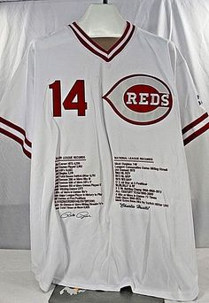 5adf32ac Cincinnati Reds Pete Rose #14 Mitchell & Ness STAT Jersey 54 Charlie  Hustle