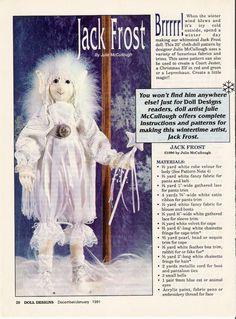 Free Jack Frost Doll Pattern  Выкройки кукол