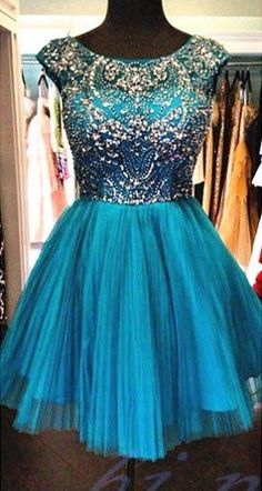 Blue Homecoming Dress,Beading Homecoming Dress,Tulle Homecoming Dress