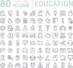 Set vector line icons in flat design education, school and university with elements for mobile concepts and web apps. Collection modern infographic logo and pictogram. Education Icon, People Icon, Best Icons, Graduation Project, Sketch Notes, City Illustration, Business Icon, Apps, Illustrations