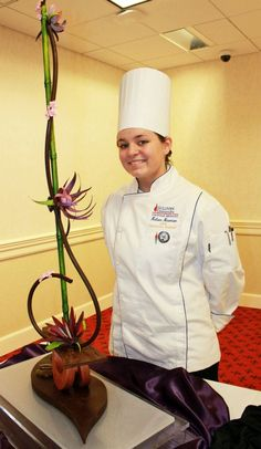 Kelsee Newman poses with her practice piece for the 2012 International Culinary Olympics! | Sullivan University