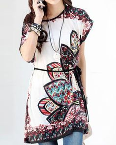 Scoop Neck Short Sleeves Print Ethnic Style Dress For Women