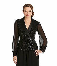 Alex Evenings Sequin Satin Collar Blouse #Dillards