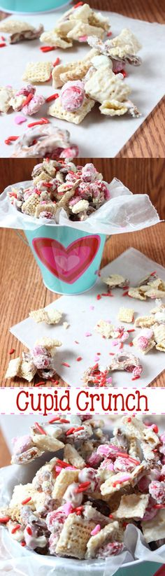 Cupid Crunch, the white chocolate coated cereal pretzel mix that is perfect for Valentine's Day. It brings salty and sweet to a whole new level! | http://EverydayMadeFresh.com