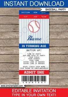 Baseball Ticket Invitation Template | Birthday Party Invitations | Editable DIY | Baseball Theme | INSTANT DOWNLOAD $7.50 via SIMONEmadeit.com