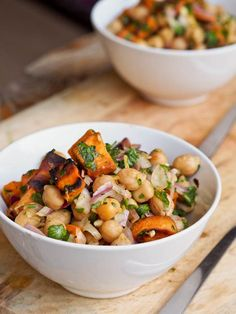 Sweet Potato and Chickpea Salad // A vegetarian dinner salad packed with chick peas and sweet potatoes — hearty enough to act as your main dish!