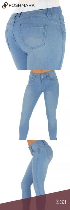 Butt Lifting Curvy Fit Skinny Jeans Size 5   76% Cotton, 22% Polyester, 2% Spandex  Brand: Diamanté   Looks a little darker in rinse in person.   Price is firm. Cheaper on merc... diamante Jeans Skinny