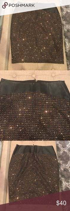 The Limited Brand Skirt Brand New Women's The Limited Brand Sequined & faux Leather  trimmed Skirt Size 8 . Skirt is lined The Limited Skirts