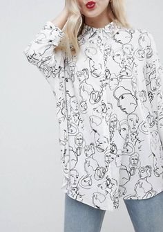 c0594b38a2e ASOS Sketch Print Faces White Shirt Black Monochrome 10 12 Vintage Inspired   fashion  clothing  shoes  accessories  womensclothing  tops