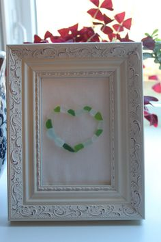Sea Glass Art Heart in White Frame by LakeMichiganBaubles on Etsy, $20.00