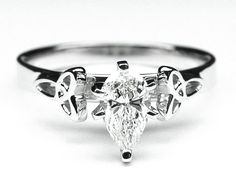 Engagement Ring - Pear Diamond Celtic Knot Engagement Ring in 14K White Gold - ES644PS
