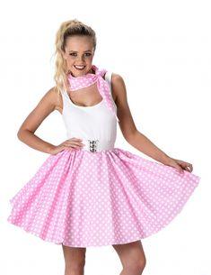 Disfraz años 50 rosa con puntos blancos mujer 1f4759de455