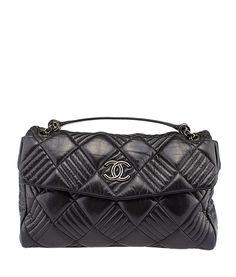 Chanel A38995 Rabat Sac Black Quilted Lambskin Leather Shoulder Bag
