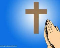 Esta plantilla de Powerpoint es perfecta para temas como Religión con fondo azul, cruz y manos rezando