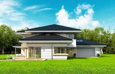 Dom z Widokiem Colonial, Design Projects, House Plans, Shed, Villa, Outdoor Structures, House Design, Mansions, House Styles