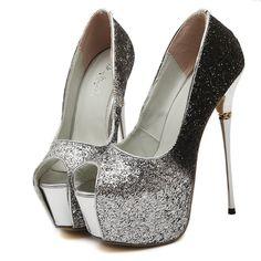 Silver peep toe sequins slip on high heels platform women pumps fashion sexy women pumps party shoes
