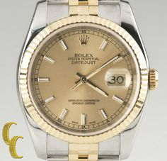 Rolex ♛ Men's 18k Yellow Gold & Stainless Steel Automatic DateJust Watch 116233 #Rolex #Luxury