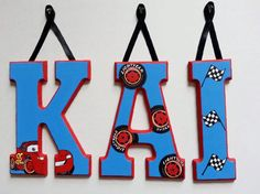 8 LETTERS Custom Painted Wooden Hanging Wall by AlbonsBoutique, $56.00 #cars #theme #disney