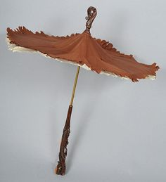 Small1860's Chic Silk Parasol *FABULOUS  Carved Wood Handle