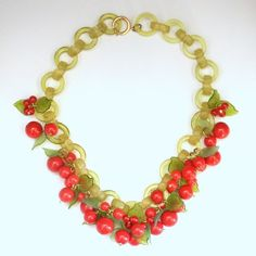 French Bakelite Cherry Necklace, by Marie-Christine Pavone