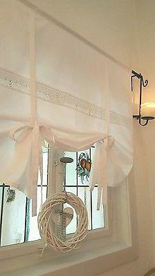 Gardine Raffrollo Spitze weiß 90/110/130/150 x 120 cm Landhaus Shabby Vintage